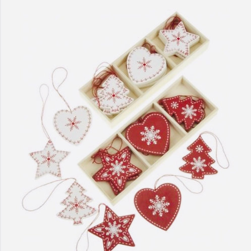 Nordic Red & White wooden Decorations