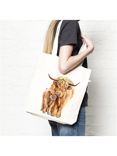 Highland Cow Mummy and Baby Tote