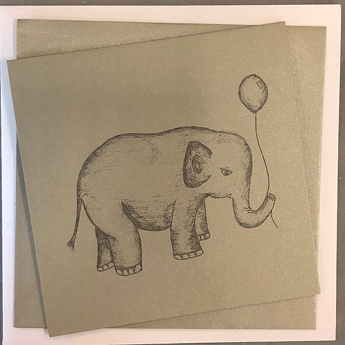 Elephant Greetings Card - Silver