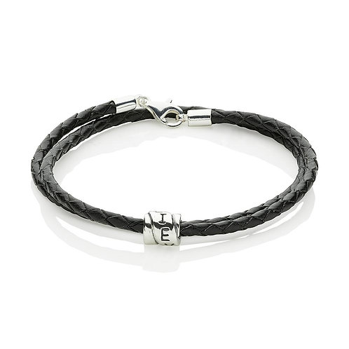 'Believe' Leather and Sterling Silver Bracelet