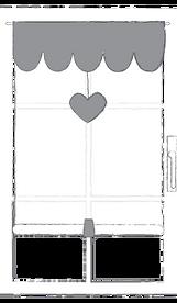 tenda a vetro con cuore appeso
