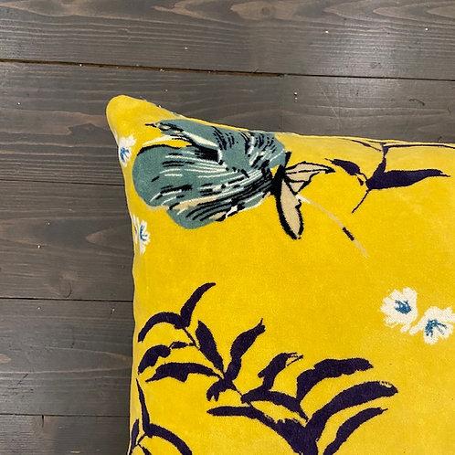 Cuscino velluto flower giallo
