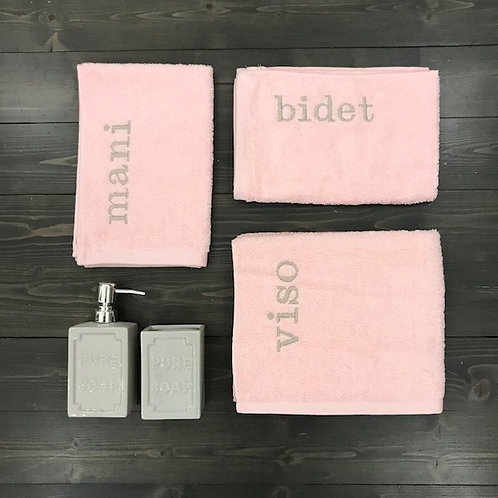 Set 3 pezzi 'Viso+Mani+Bidet' rosa