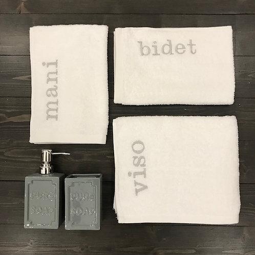 Set 3 pezzi 'Viso+Mani+Bidet' bianco-grigio
