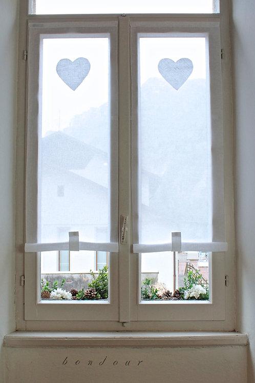 Tenda a vetro con cuore modello 'Rosa': white