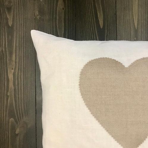 Federa bianca cuore sabbia