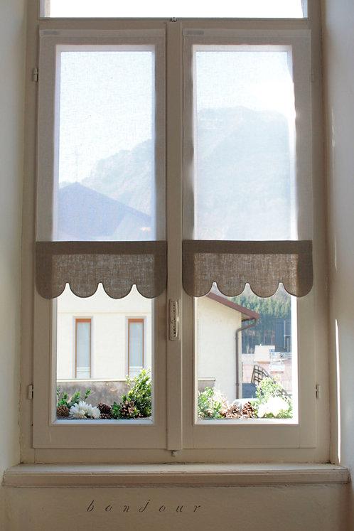 Tenda a vetro con mantovana sotto modello 'Viola': bicolor