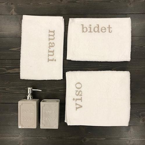 Set 3 pezzi 'Viso+Mani+Bidet' bianco-sabbia