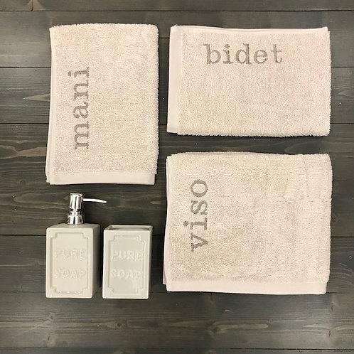 Set 3 pezzi 'Viso+Mani+Bidet' sabbia