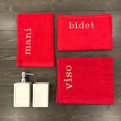 Set 3 pezzi 'Viso+Mani+Bidet' rosso