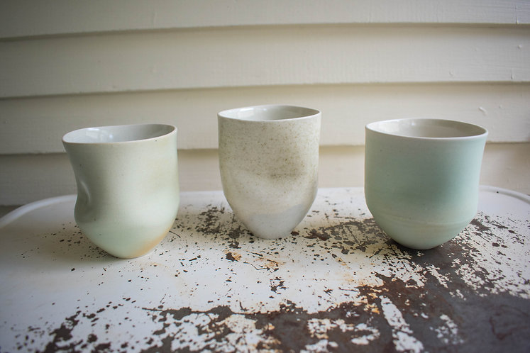White Speckled Dimple Cup