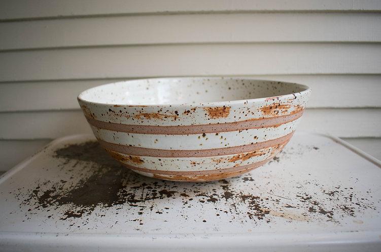 Large Striped Serving Bowl
