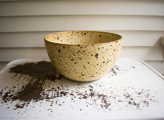 Yellow Speckled Serving Bowl