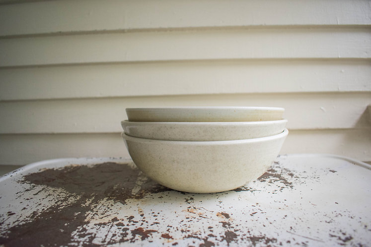 White Speckled and Mint Medium Bowls