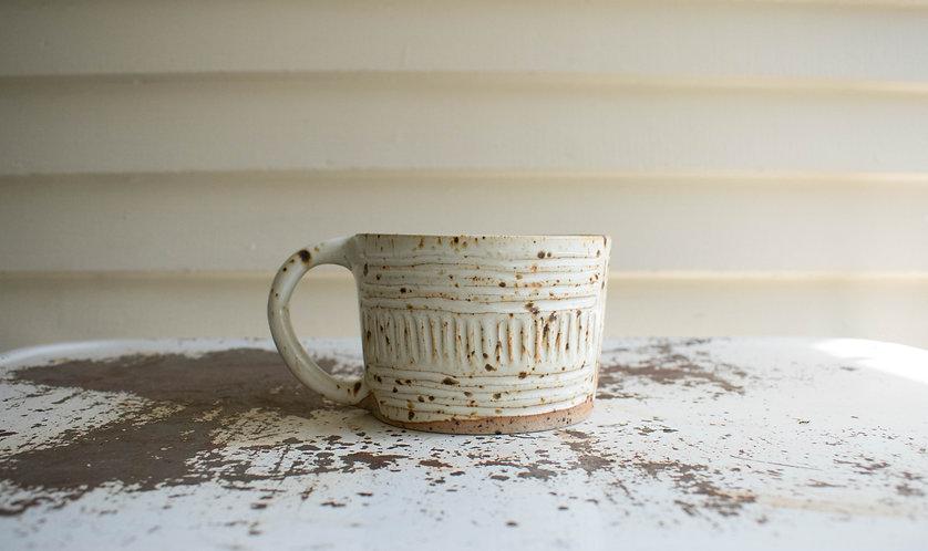 Carved Speckled Mug