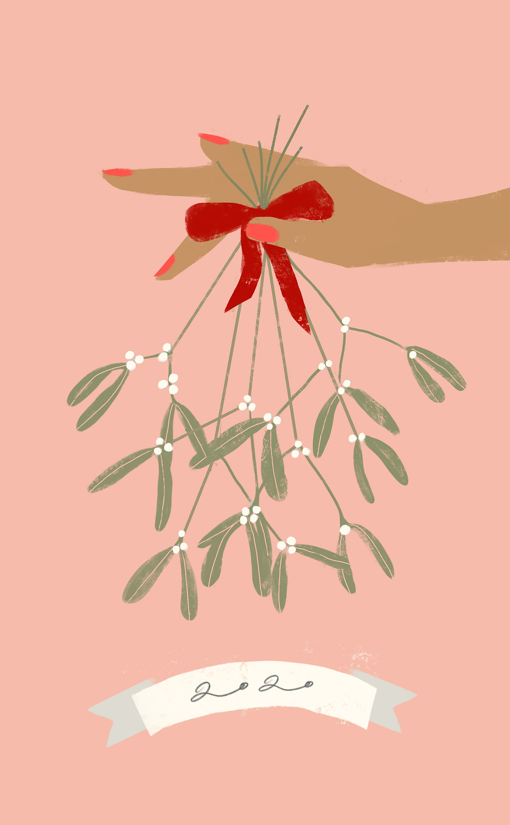 Mistletoe being held over the year 2020