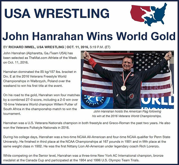 John Hanrahan named USA Wrestling Wrestler of the Week