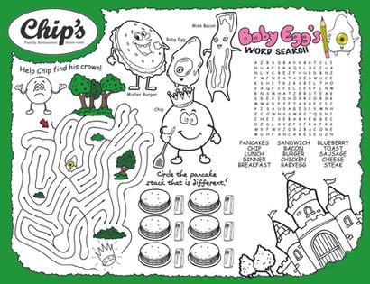 Chip's Restaurant Kids' Placemat