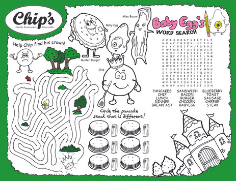 Chip's Restaurant Kids' Placemat