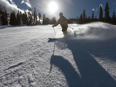 Skiing a Groomer on a Beautfiul Day
