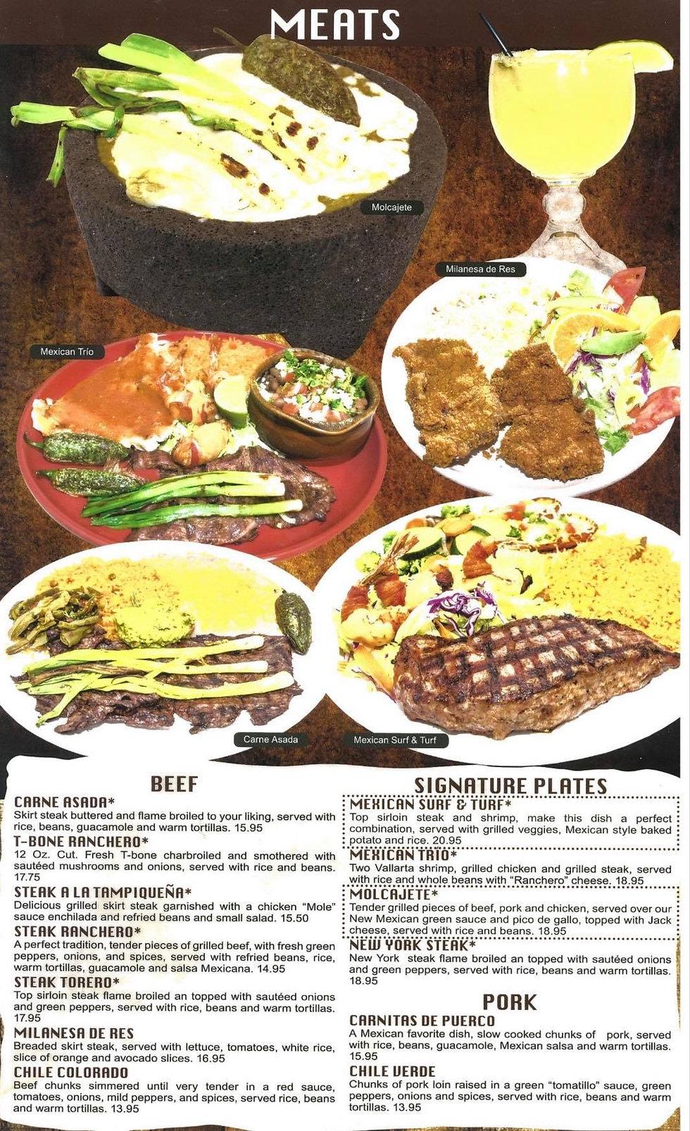 Guadalajara Casper Meats Menu