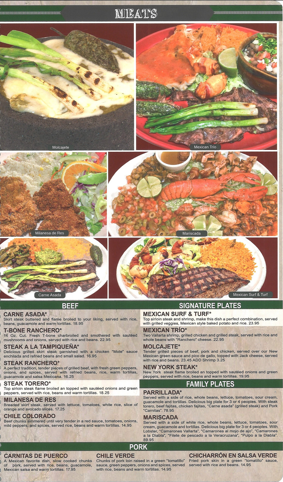 Hacienda Real Menu/meats
