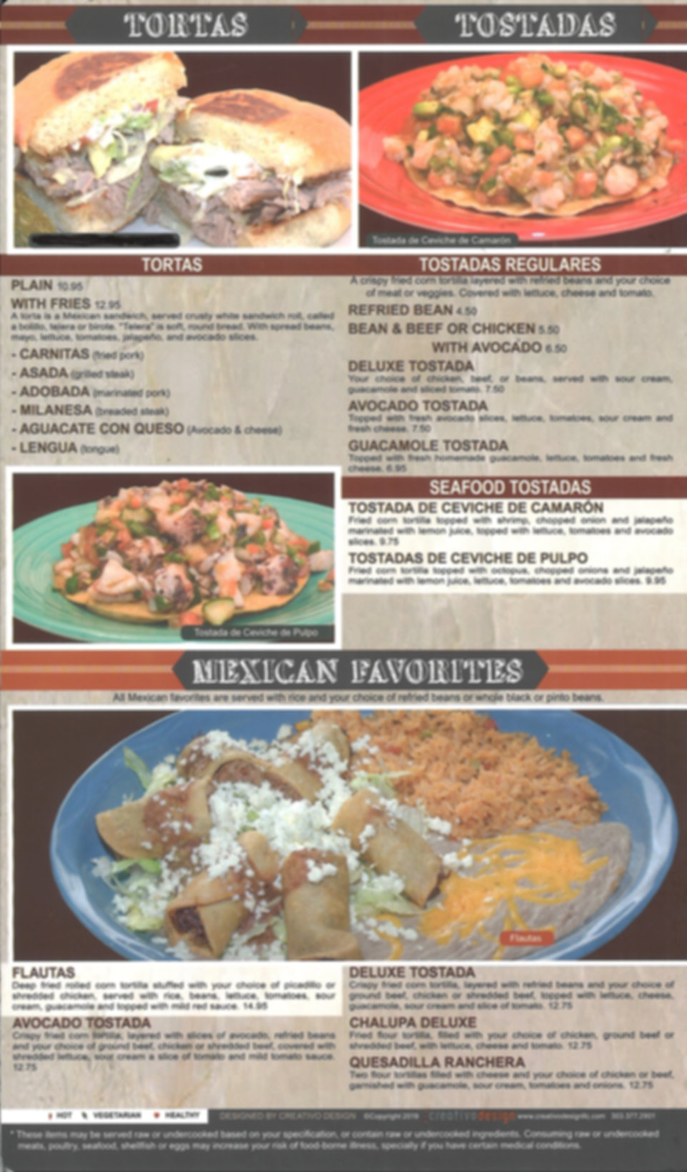 Hacienda Real Menu/ Mexican Favorites