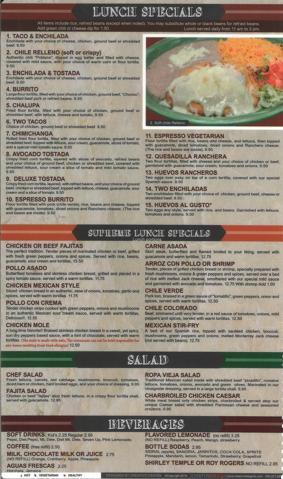 Hacienda Real Menu _ Lunch