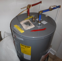 Missing thermal expansion valve or tank as well as pressure release piping.