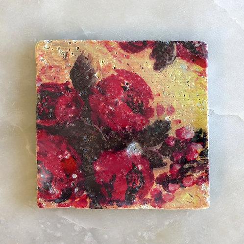 """""""Scarlet Blooms"""" by Jennifer Lanne ~ Natural Stone Tile"""