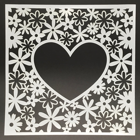 Floral Heart 12x12 Stencil - Coordinates with Sunkissed