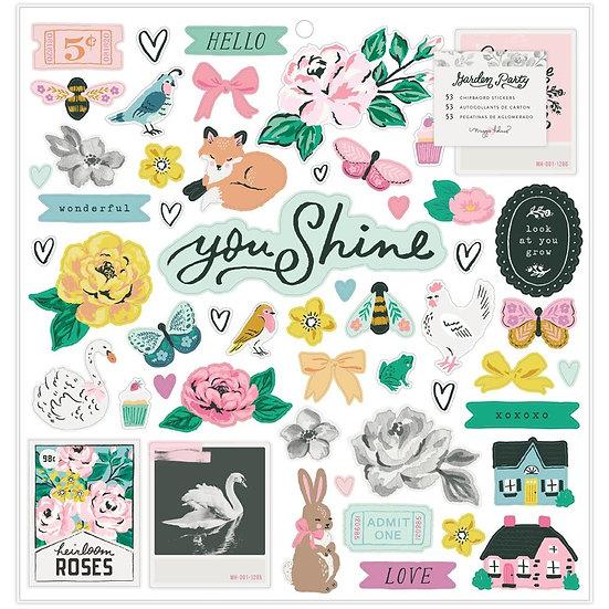 """Maggie Holmes Garden Party Chipboard Stickers 12""""X12"""""""