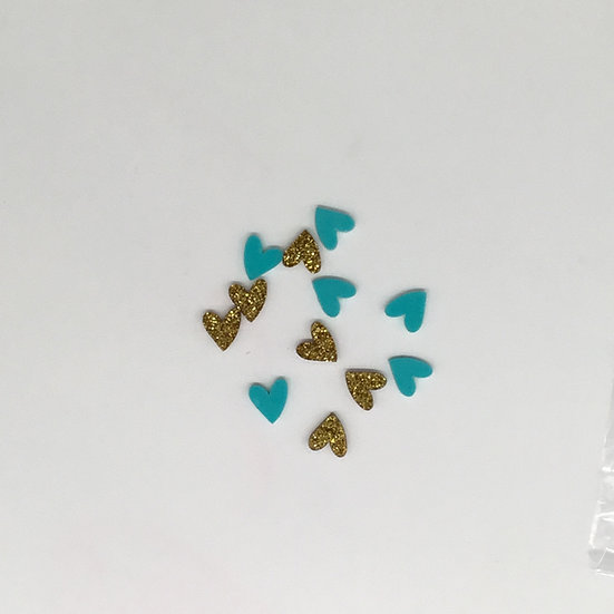 Teal and Gold Glitter Hearts - Coordinates with Sunkissed