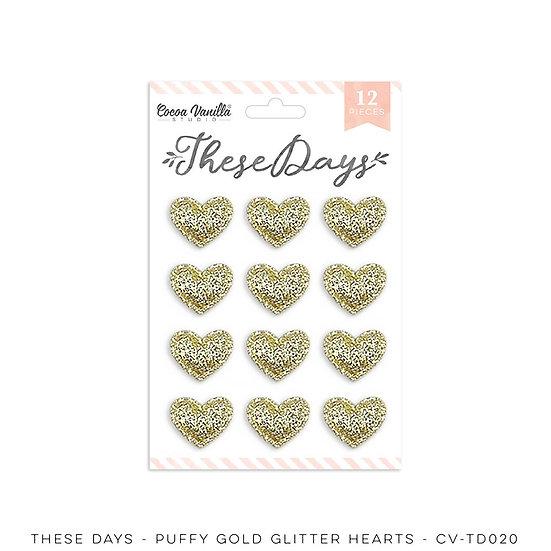 These Days Puffy Gold Glitter Hearts // Cocoa Vanilla Studio