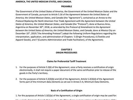USMCA - Uniform Regulations - Chapters 5, 6 and 7
