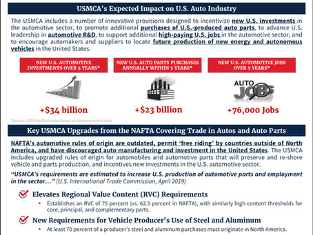 Key USMCA Upgrades from the NAFTA Covering Trade in Autos and Auto Parts