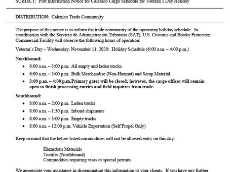 Port Information Notice for Calexico Cargo Schedule for Veteran's Day Holiday