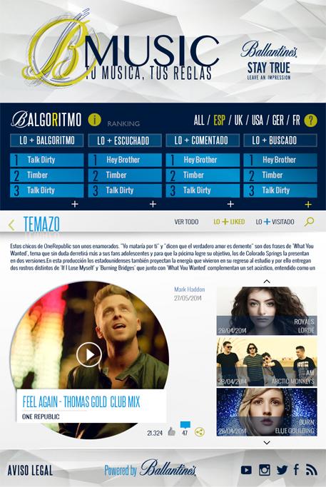 App Facebook B-Music Ballantines