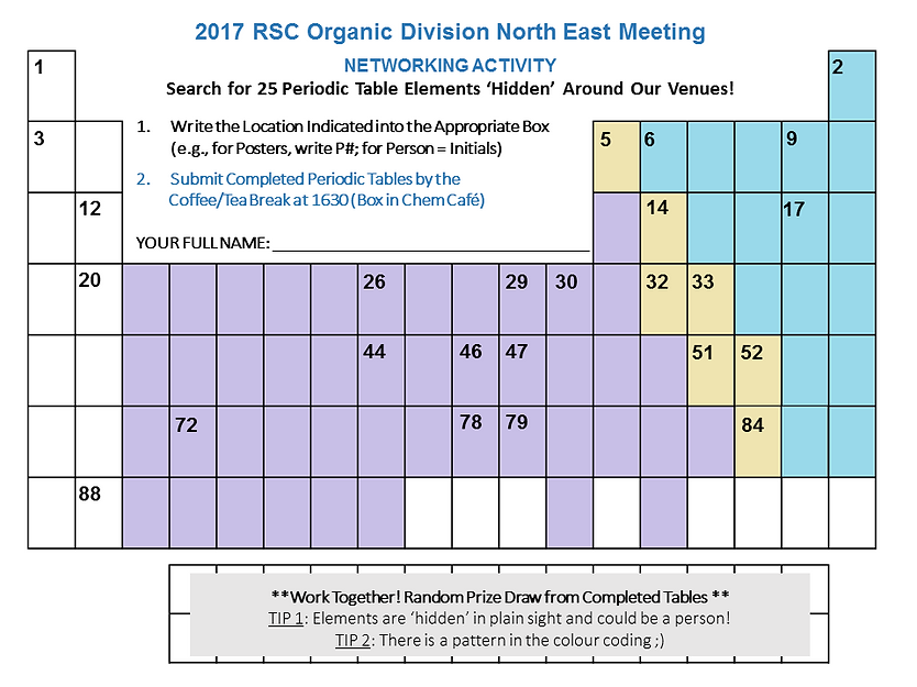 Rsc orgne17 2017 meeting awards fill in their location in the table below and turn in your completed form to enter a random draw for one of two networking prizes urtaz Gallery