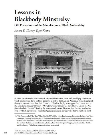 "Dr. Amma's journal article: ""Lessons in Blackbody Minstrelsy"""
