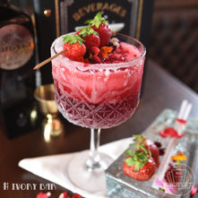 Our special Valentines cocktail. Strawberry Slushie, alcohol infused dessert cocktail. Tasty and visually stunning perfect for two!
