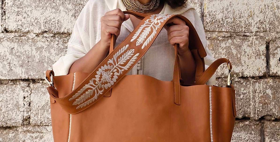 Handmade Oversized Leather Sarma Tote Bag with Illustrated Strap
