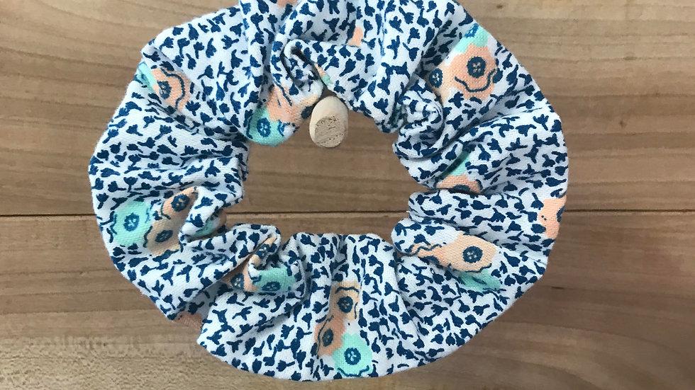 Blue/Coral Floral Scrunchie
