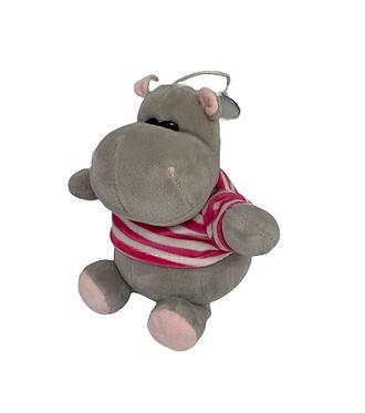 Мягкая игрушка Бегемот в полосатой кофточке 22 см