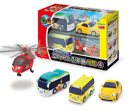 Набор машинок The Little Bus TAYO Friends с вертолетом Аэро