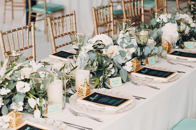 The wedding decor. The white flowers bou