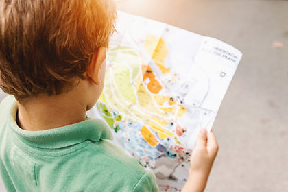 Young male child looking at a picture