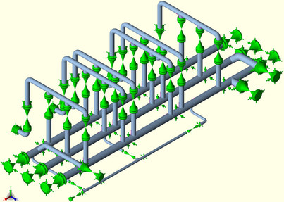 Three log manifold #600 piping stress an
