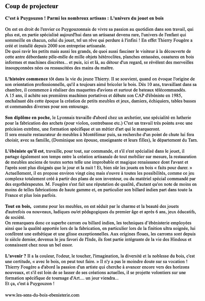 presse thierry fougere-journal-local-puygouzon-tarn-presse-relations-confiance-connu-famous-meilleur-artisan-ebeniste-restauration-four-solaire
