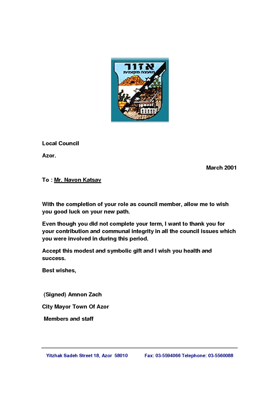 Letter of Appreciation Signed By Mr